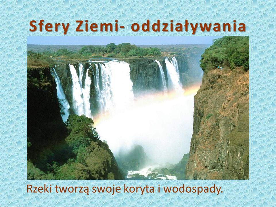 Sfery Ziemi- oddziaływania Rzeki tworzą swoje koryta i wodospady.