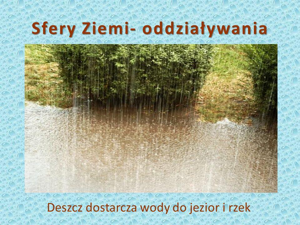 Sfery Ziemi- oddziaływania Deszcz dostarcza wody do jezior i rzek