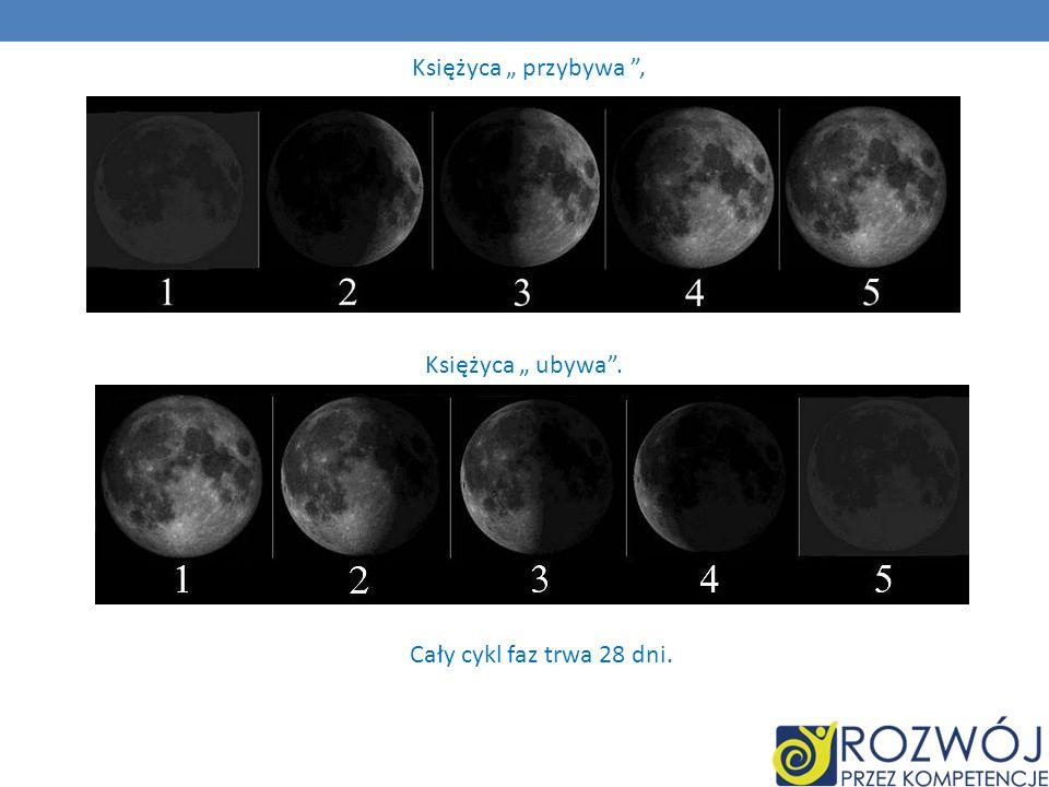 Księżyca przybywa, Księżyca ubywa. Cały cykl faz trwa 28 dni.