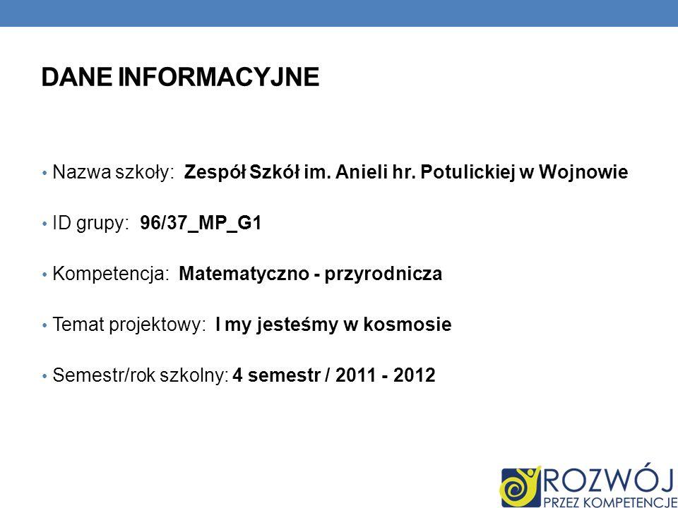 DANE INFORMACYJNE Nazwa szkoły: Zespół Szkół im. Anieli hr. Potulickiej w Wojnowie ID grupy: 96/37_MP_G1 Kompetencja: Matematyczno - przyrodnicza Tema
