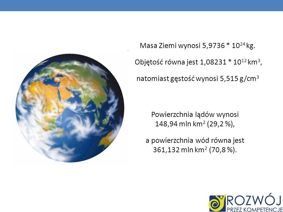 Masa Ziemi wynosi 5,9736 * 10 24 kg. Objętość równa jest 1,08231 * 10 12 km 3, natomiast gęstość wynosi 5,515 g/cm 3 Powierzchnia lądów wynosi 148,94