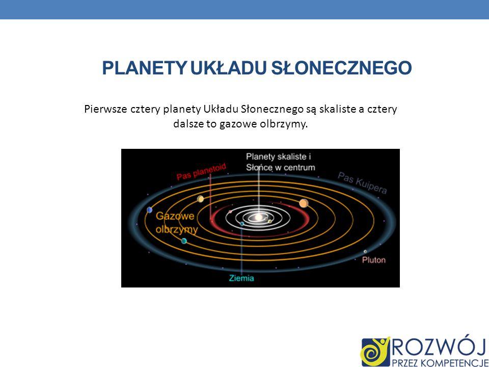 PLANETY UKŁADU SŁONECZNEGO Pierwsze cztery planety Układu Słonecznego są skaliste a cztery dalsze to gazowe olbrzymy.