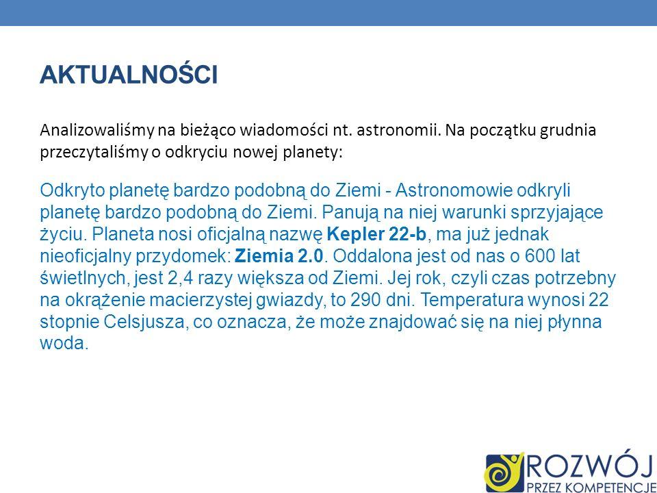 AKTUALNOŚCI Analizowaliśmy na bieżąco wiadomości nt. astronomii. Na początku grudnia przeczytaliśmy o odkryciu nowej planety: Odkryto planetę bardzo p