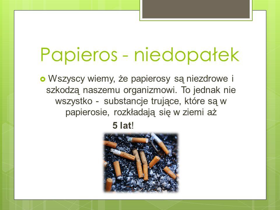 Papieros - niedopałek Wszyscy wiemy, że papierosy są niezdrowe i szkodzą naszemu organizmowi. To jednak nie wszystko - substancje trujące, które są w