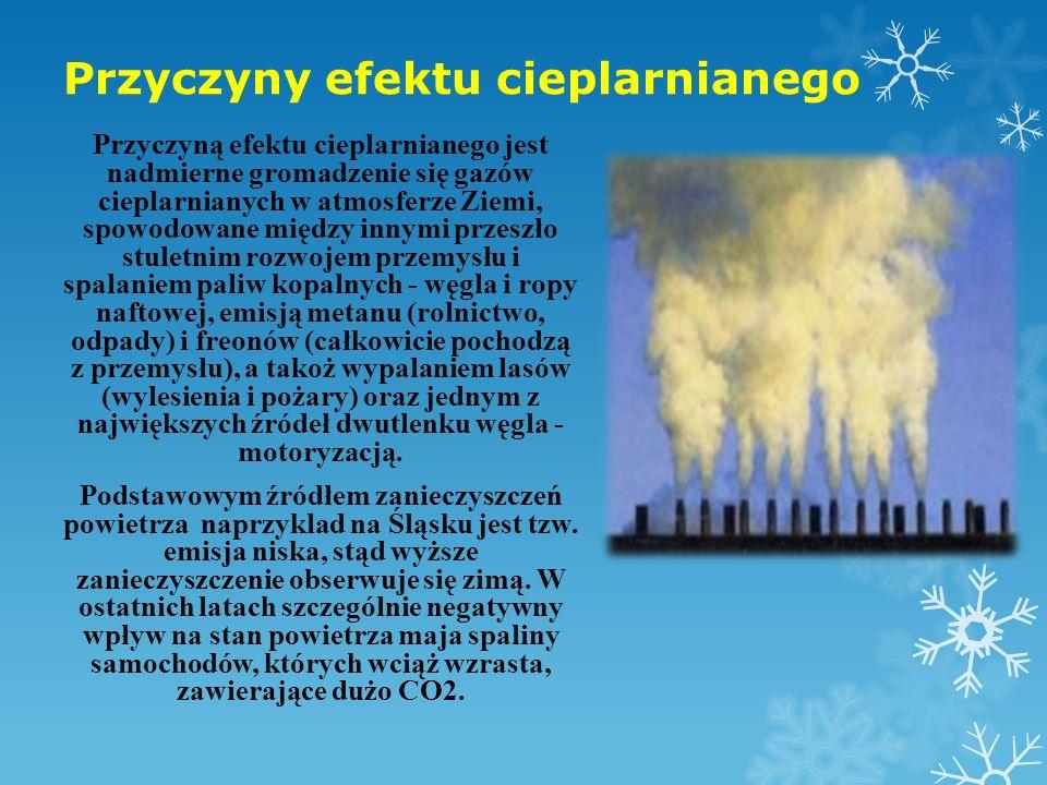 Przyczyny efektu cieplarnianego Przyczyną efektu cieplarnianego jest nadmierne gromadzenie się gazów cieplarnianych w atmosferze Ziemi, spowodowane mi