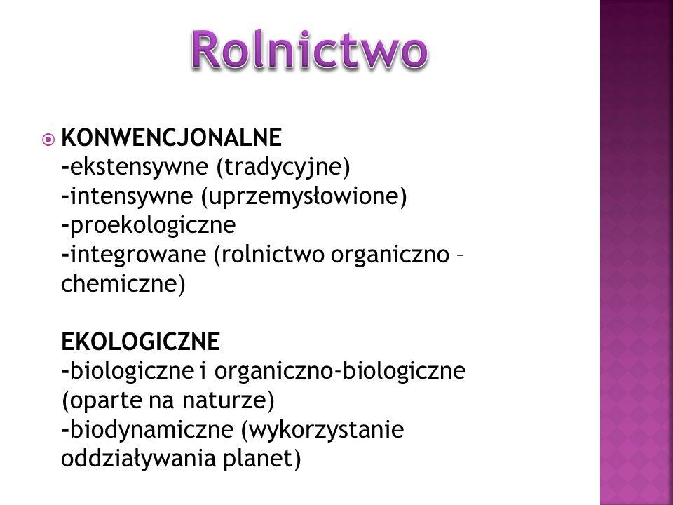 KONWENCJONALNE -ekstensywne (tradycyjne) -intensywne (uprzemysłowione) -proekologiczne -integrowane (rolnictwo organiczno – chemiczne) EKOLOGICZNE -bi