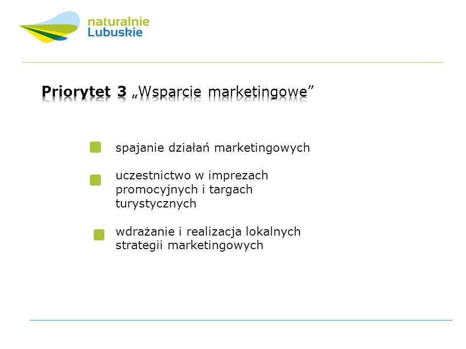 spajanie działań marketingowych uczestnictwo w imprezach promocyjnych i targach turystycznych wdrażanie i realizacja lokalnych strategii marketingowych