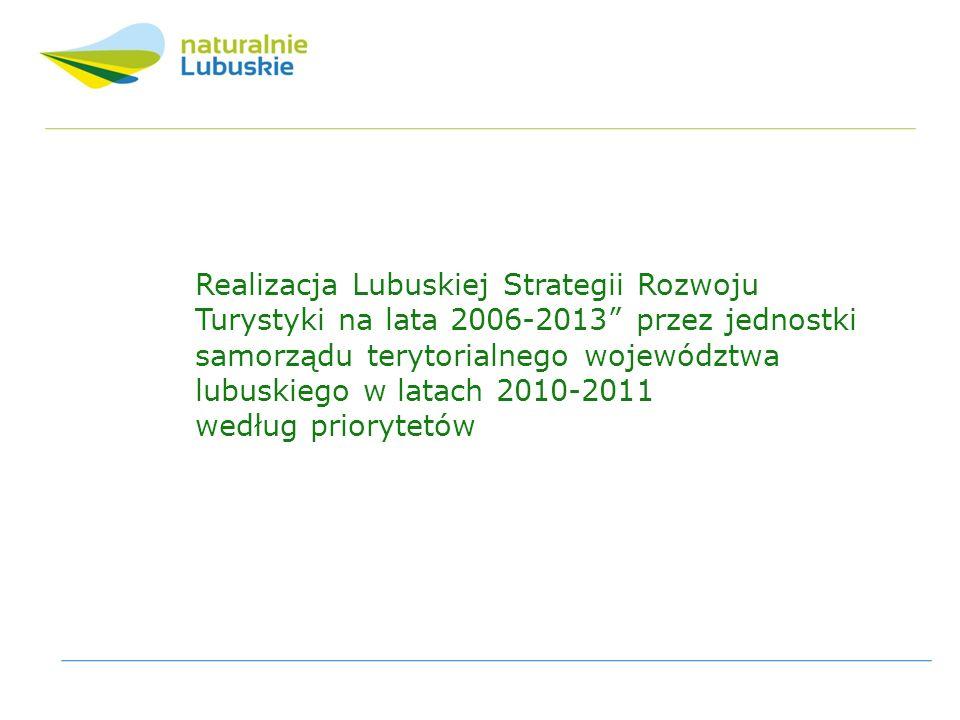 Realizacja Lubuskiej Strategii Rozwoju Turystyki na lata 2006-2013 przez jednostki samorządu terytorialnego województwa lubuskiego w latach 2010-2011 według priorytetów