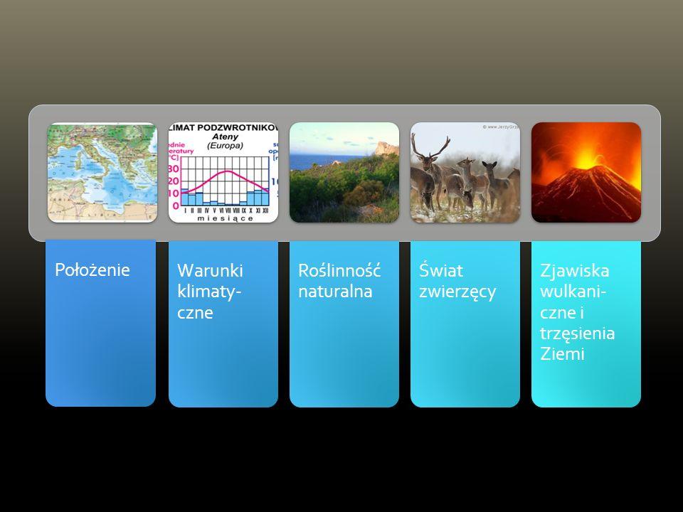 Położenie Warunki klimaty- czne Roślinność naturalna Świat zwierzęcy Zjawiska wulkani- czne i trzęsienia Ziemi