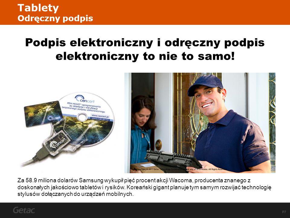 P7 Tablety Odręczny podpis Podpis elektroniczny i odręczny podpis elektroniczny to nie to samo.