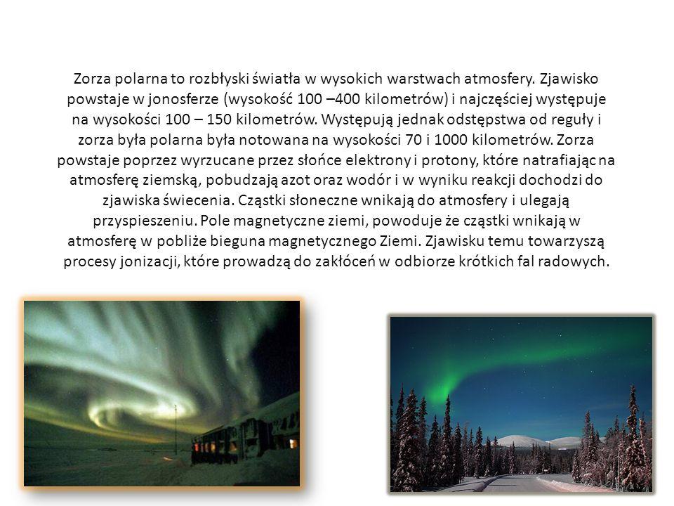 Zorza polarna to rozbłyski światła w wysokich warstwach atmosfery. Zjawisko powstaje w jonosferze (wysokość 100 –400 kilometrów) i najczęściej występu