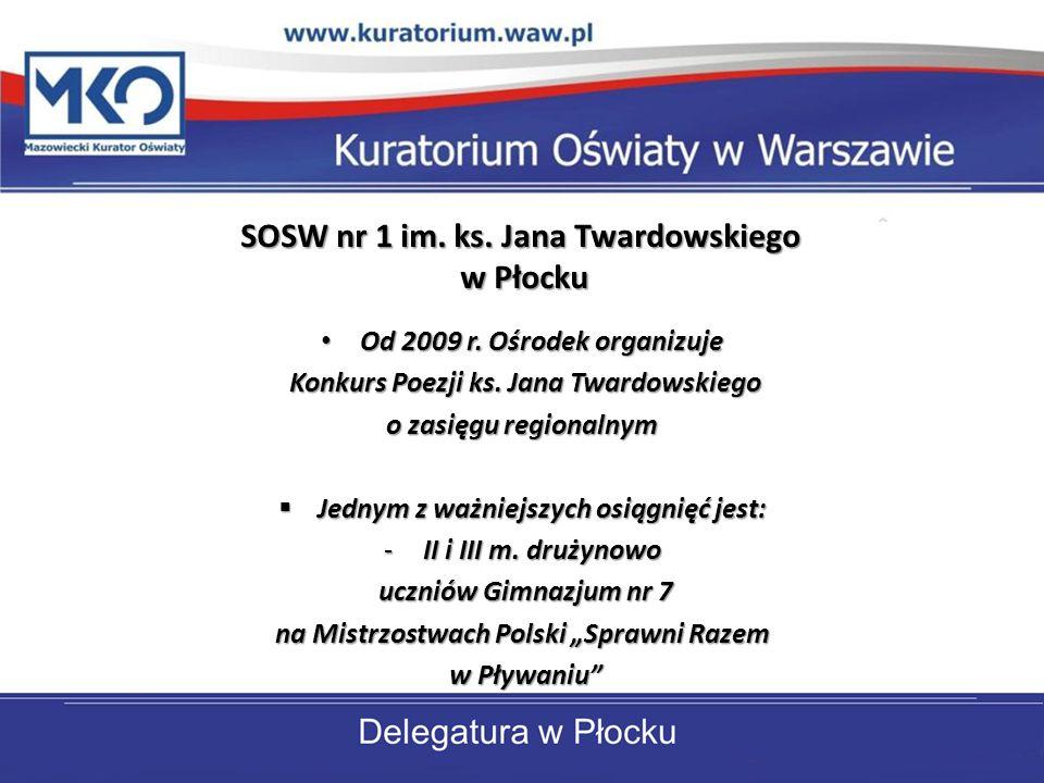 SOSW nr 1 im. ks. Jana Twardowskiego w Płocku Od 2009 r. Ośrodek organizuje Od 2009 r. Ośrodek organizuje Konkurs Poezji ks. Jana Twardowskiego Konkur