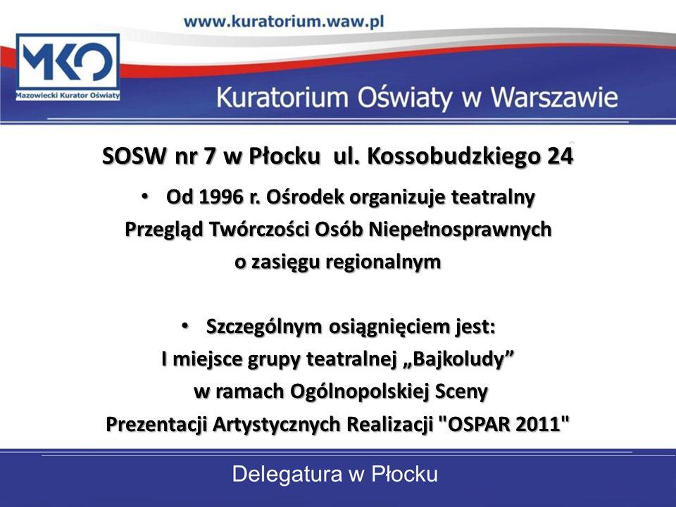 SOSW nr 7 w Płocku ul. Kossobudzkiego 24 Od 1996 r. Ośrodek organizuje teatralny Od 1996 r. Ośrodek organizuje teatralny Przegląd Twórczości Osób Niep
