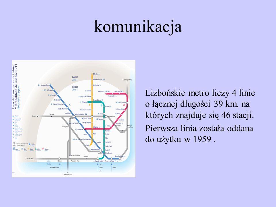 komunikacja Lizbońskie metro liczy 4 linie o łącznej długości 39 km, na których znajduje się 46 stacji. Pierwsza linia została oddana do użytku w 1959