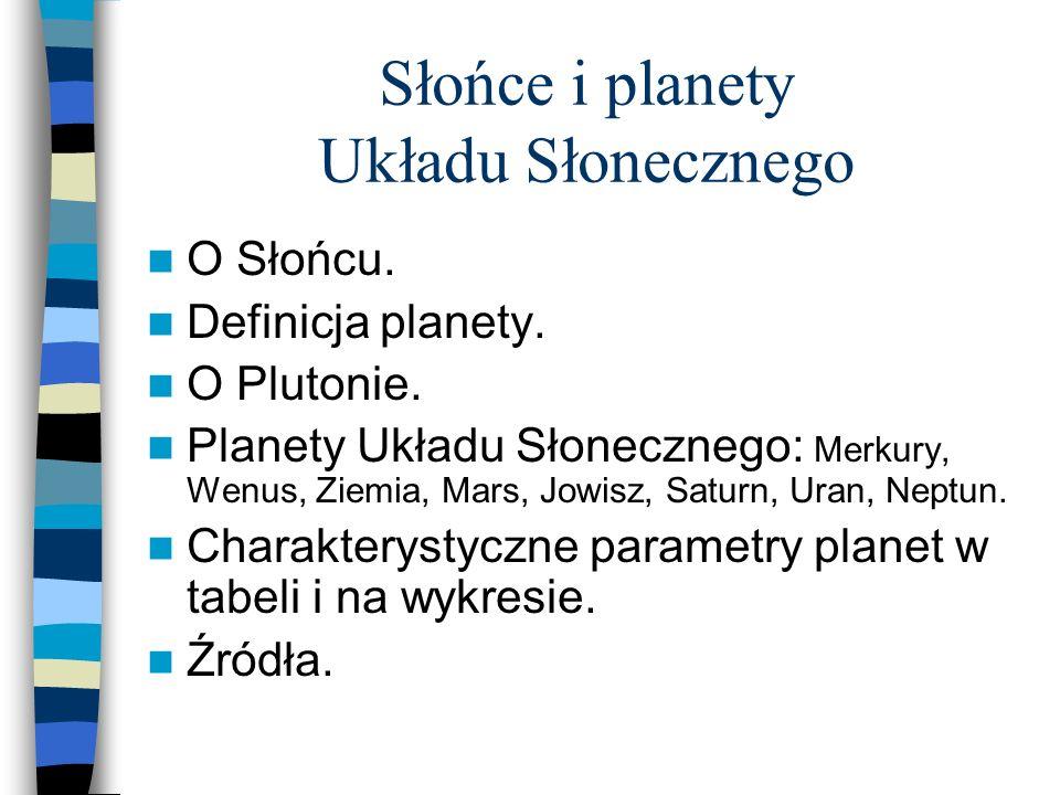 O Słońcu. Definicja planety. O Plutonie. Planety Układu Słonecznego: Merkury, Wenus, Ziemia, Mars, Jowisz, Saturn, Uran, Neptun. Charakterystyczne par