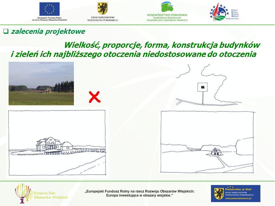 Wielkość, proporcje, forma, konstrukcja budynków i zieleń ich najbliższego otoczenia niedostosowane do otoczenia zalecenia projektowe