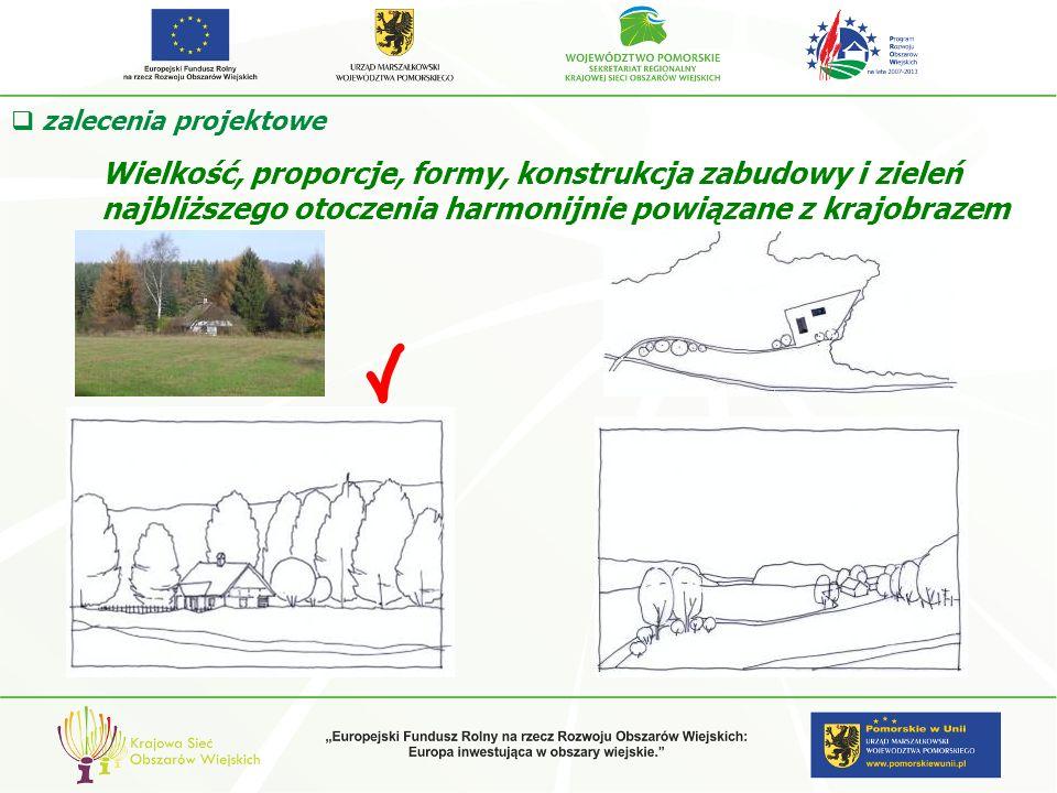 Wielkość, proporcje, formy, konstrukcja zabudowy i zieleń najbliższego otoczenia harmonijnie powiązane z krajobrazem