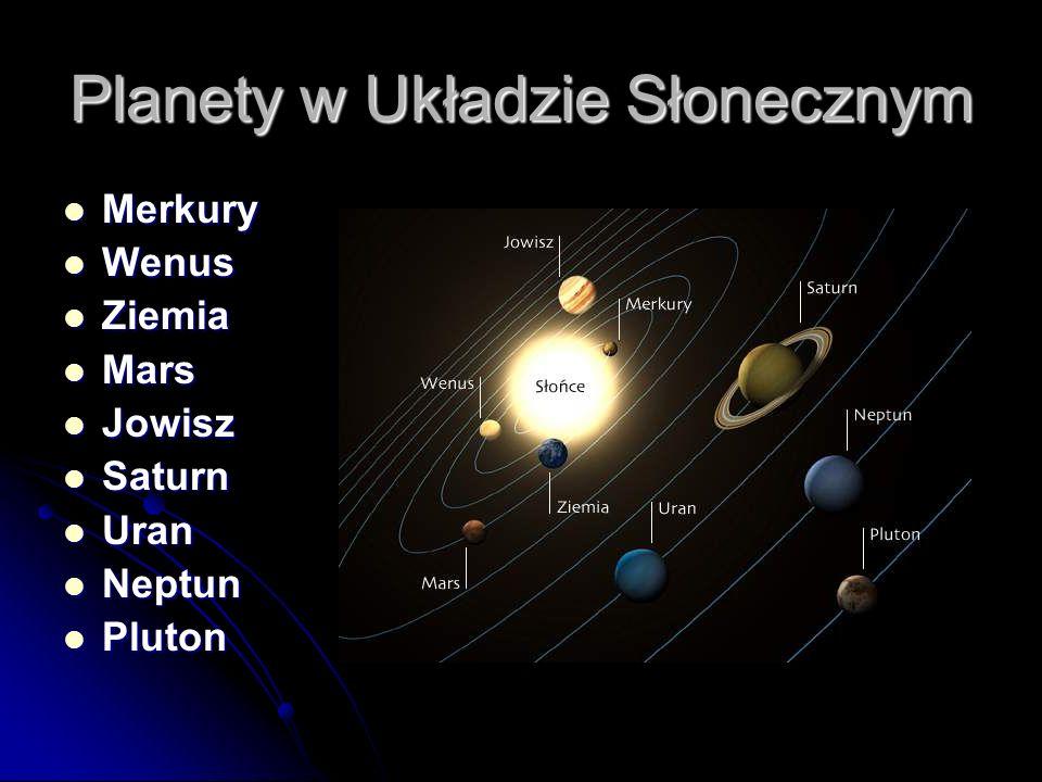 Planety w Układzie Słonecznym Merkury Merkury Wenus Wenus Ziemia Ziemia Mars Mars Jowisz Jowisz Saturn Saturn Uran Uran Neptun Neptun Pluton Pluton
