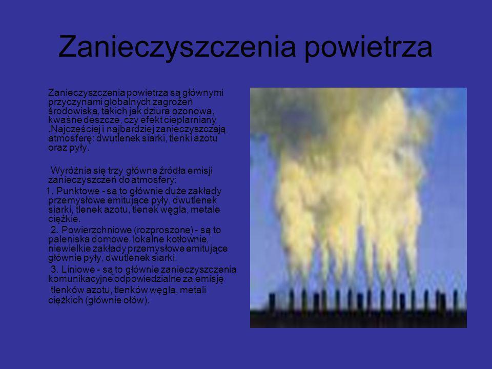 Zanieczyszczenia powietrza Zanieczyszczenia powietrza są głównymi przyczynami globalnych zagrożeń środowiska, takich jak dziura ozonowa, kwaśne deszcz