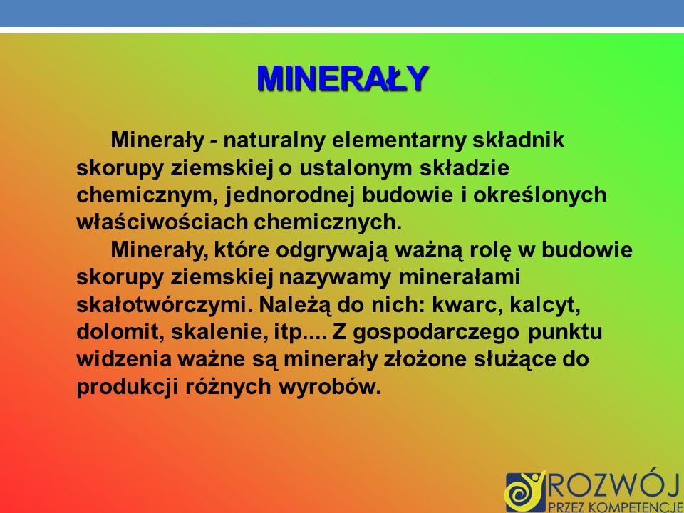 MINERAŁY Minerały - naturalny elementarny składnik skorupy ziemskiej o ustalonym składzie chemicznym, jednorodnej budowie i określonych właściwościach