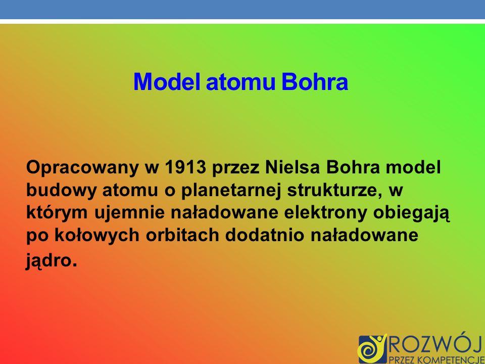 Model atomu Bohra Opracowany w 1913 przez Nielsa Bohra model budowy atomu o planetarnej strukturze, w którym ujemnie naładowane elektrony obiegają po