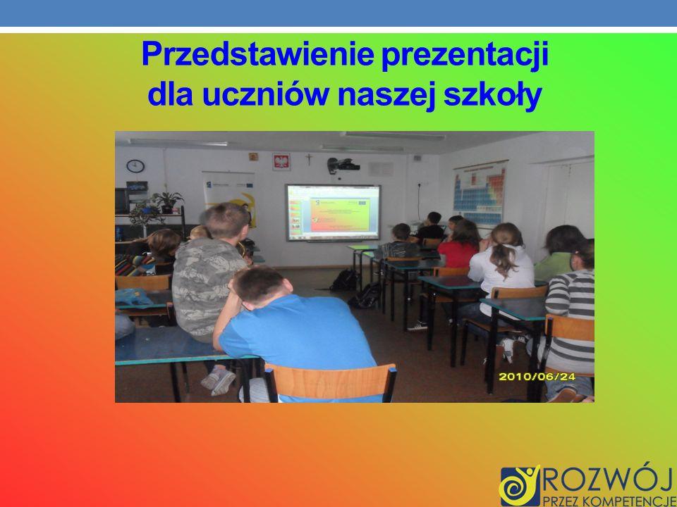 Przedstawienie prezentacji dla uczniów naszej szkoły