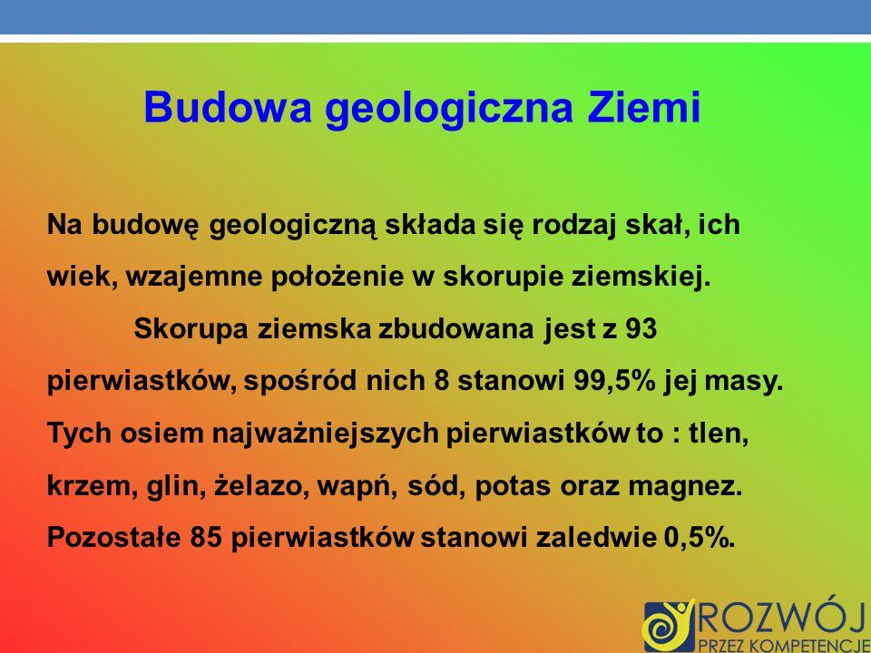 Na budowę geologiczną składa się rodzaj skał, ich wiek, wzajemne położenie w skorupie ziemskiej. Skorupa ziemska zbudowana jest z 93 pierwiastków, spo