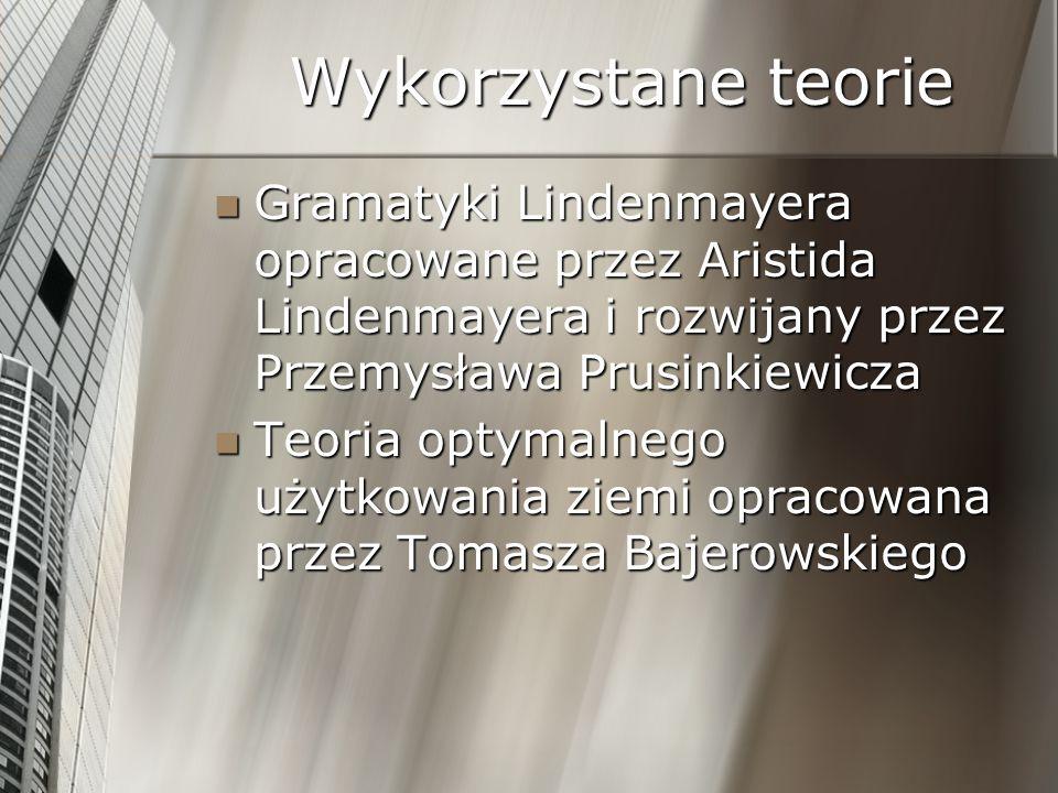 Wykorzystane teorie Gramatyki Lindenmayera opracowane przez Aristida Lindenmayera i rozwijany przez Przemysława Prusinkiewicza Gramatyki Lindenmayera
