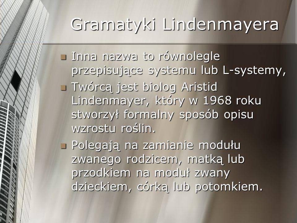 Gramatyki Lindenmayera Inna nazwa to równolegle przepisujące systemu lub L-systemy, Inna nazwa to równolegle przepisujące systemu lub L-systemy, Twórc