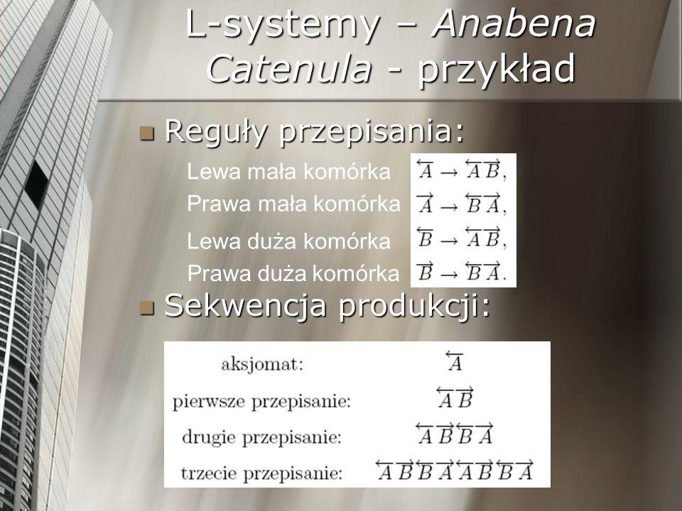 L-systemy – Anabena Catenula - przykład Reguły przepisania: Reguły przepisania: Sekwencja produkcji: Sekwencja produkcji: Lewa mała komórka Prawa mała