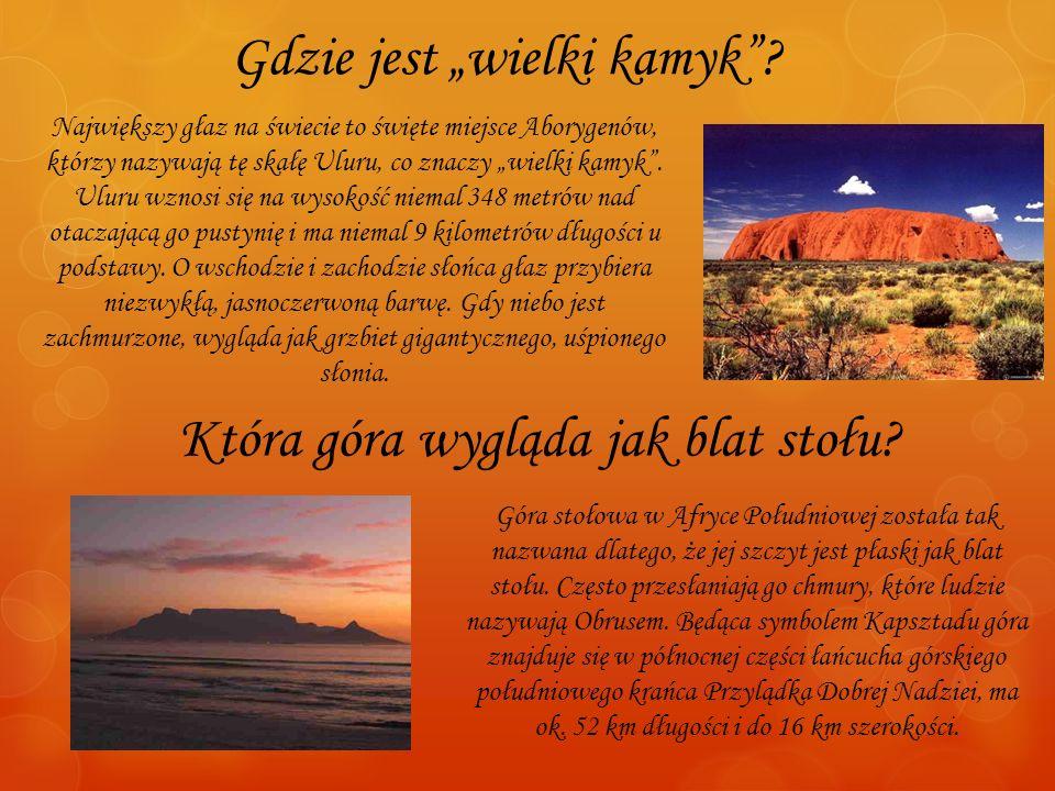 Gdzie jest wielki kamyk? Największy głaz na świecie to święte miejsce Aborygenów, którzy nazywają tę skałę Uluru, co znaczy wielki kamyk. Uluru wznosi