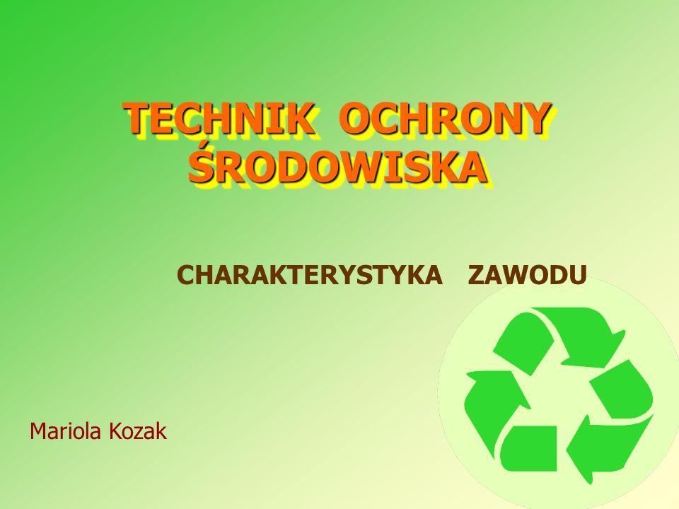 TECHNIK OCHRONY ŚRODOWISKA CHARAKTERYSTYKA ZAWODU Mariola Kozak