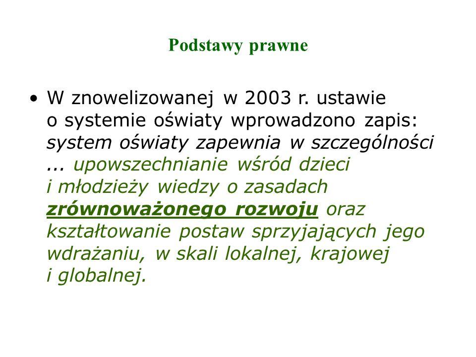 Podstawy prawne W znowelizowanej w 2003 r. ustawie o systemie oświaty wprowadzono zapis: system oświaty zapewnia w szczególności... upowszechnianie wś