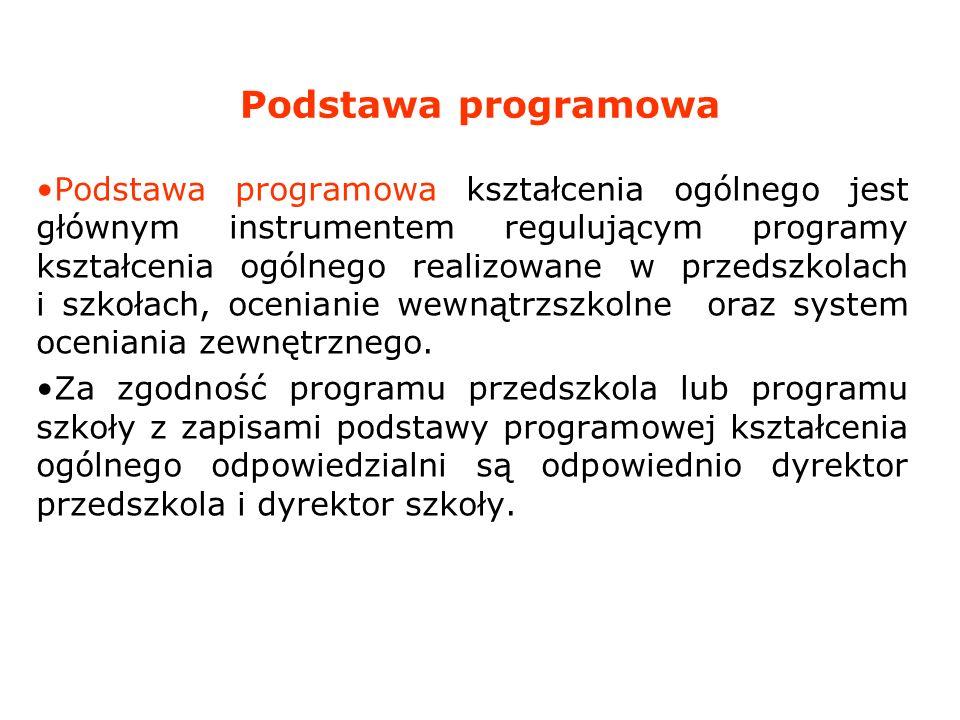 Podstawa programowa Podstawa programowa kształcenia ogólnego jest głównym instrumentem regulującym programy kształcenia ogólnego realizowane w przedsz