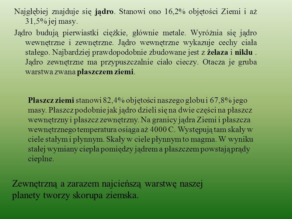 Test Ciekły stan skupienia jądra ? a) Magma b) Woda c) Rtęć