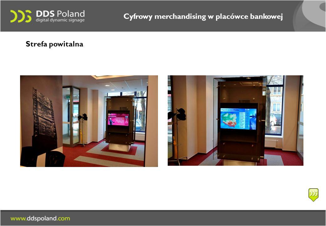 Cyfrowy merchandising w placówce bankowej Strefa powitalna