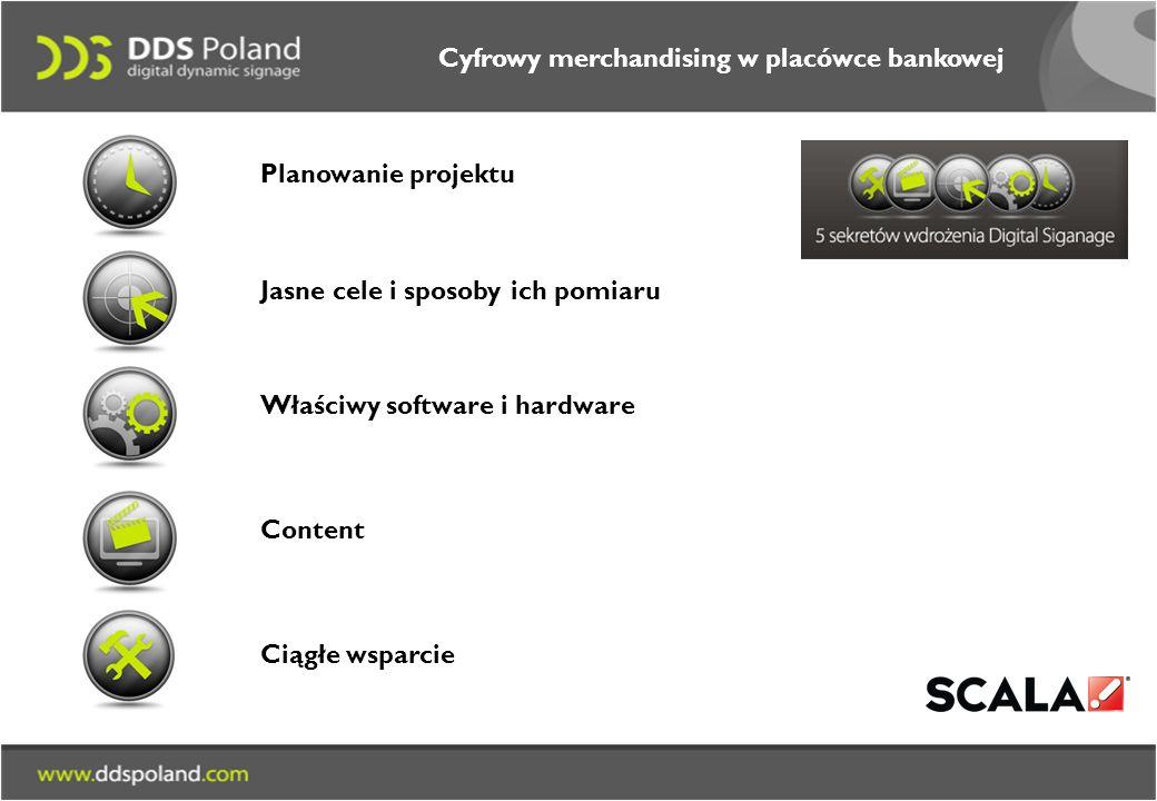 Planowanie projektu Jasne cele i sposoby ich pomiaru Właściwy software i hardware Content Ciągłe wsparcie Cyfrowy merchandising w placówce bankowej