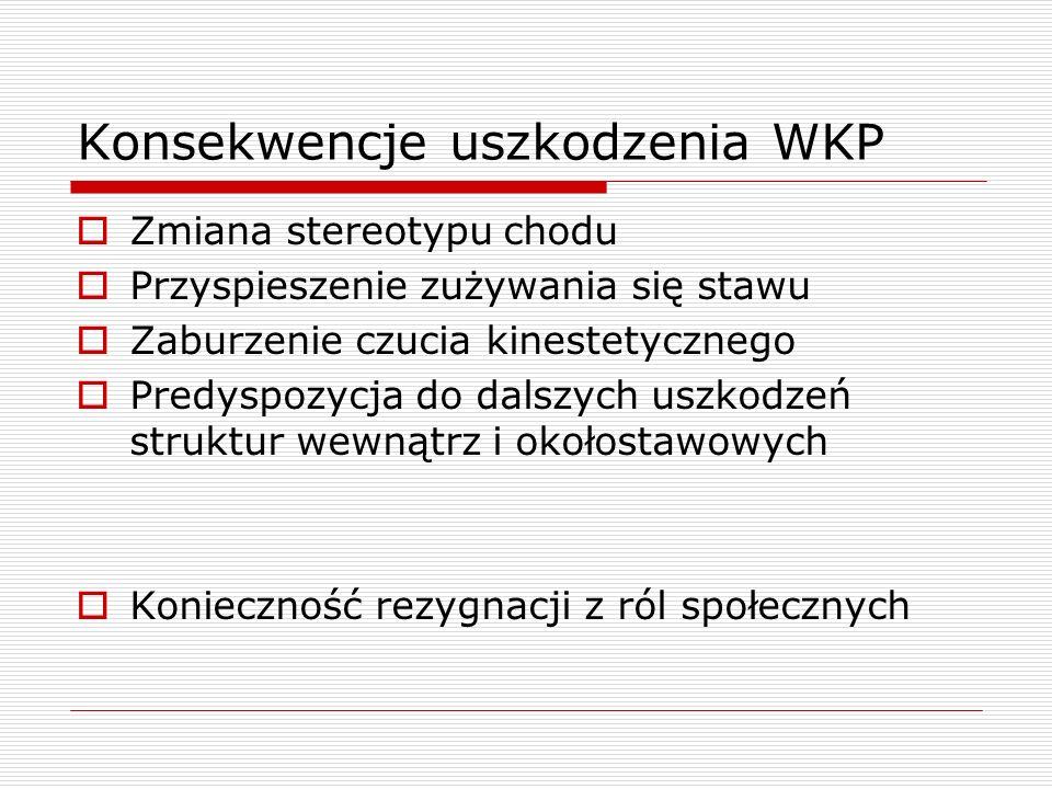 Konsekwencje uszkodzenia WKP Zmiana stereotypu chodu Przyspieszenie zużywania się stawu Zaburzenie czucia kinestetycznego Predyspozycja do dalszych us
