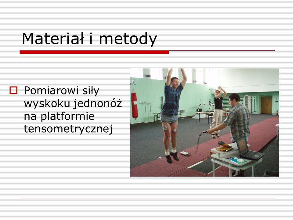Materiał i metody Pomiarowi siły wyskoku jednonóż na platformie tensometrycznej
