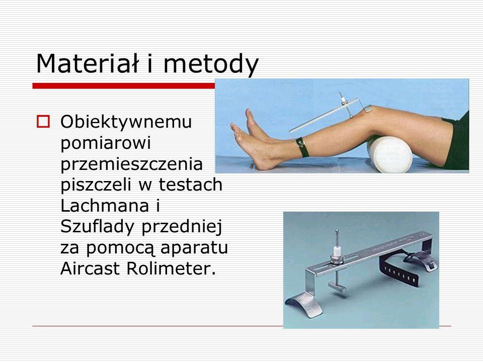 Materiał i metody Obiektywnemu pomiarowi przemieszczenia piszczeli w testach Lachmana i Szuflady przedniej za pomocą aparatu Aircast Rolimeter.