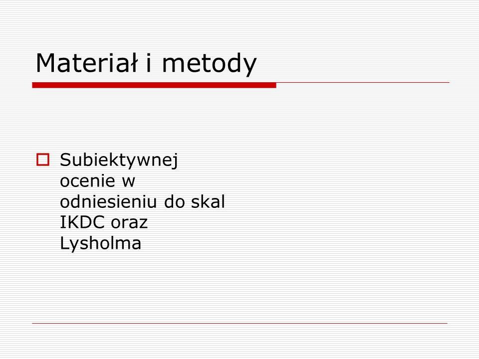 Materiał i metody Subiektywnej ocenie w odniesieniu do skal IKDC oraz Lysholma