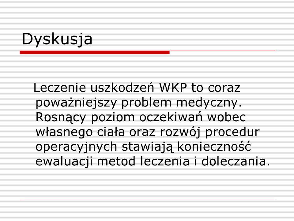 Dyskusja Leczenie uszkodzeń WKP to coraz poważniejszy problem medyczny. Rosnący poziom oczekiwań wobec własnego ciała oraz rozwój procedur operacyjnyc