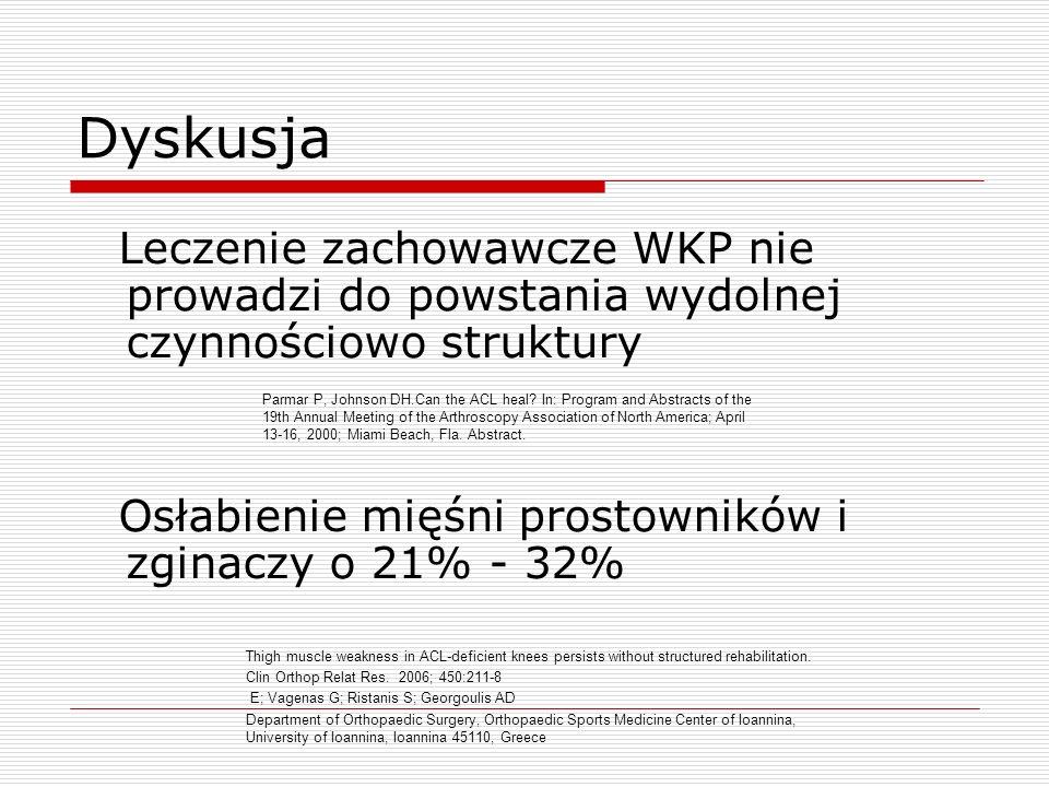 Dyskusja Leczenie zachowawcze WKP nie prowadzi do powstania wydolnej czynnościowo struktury Osłabienie mięśni prostowników i zginaczy o 21% - 32% Parm