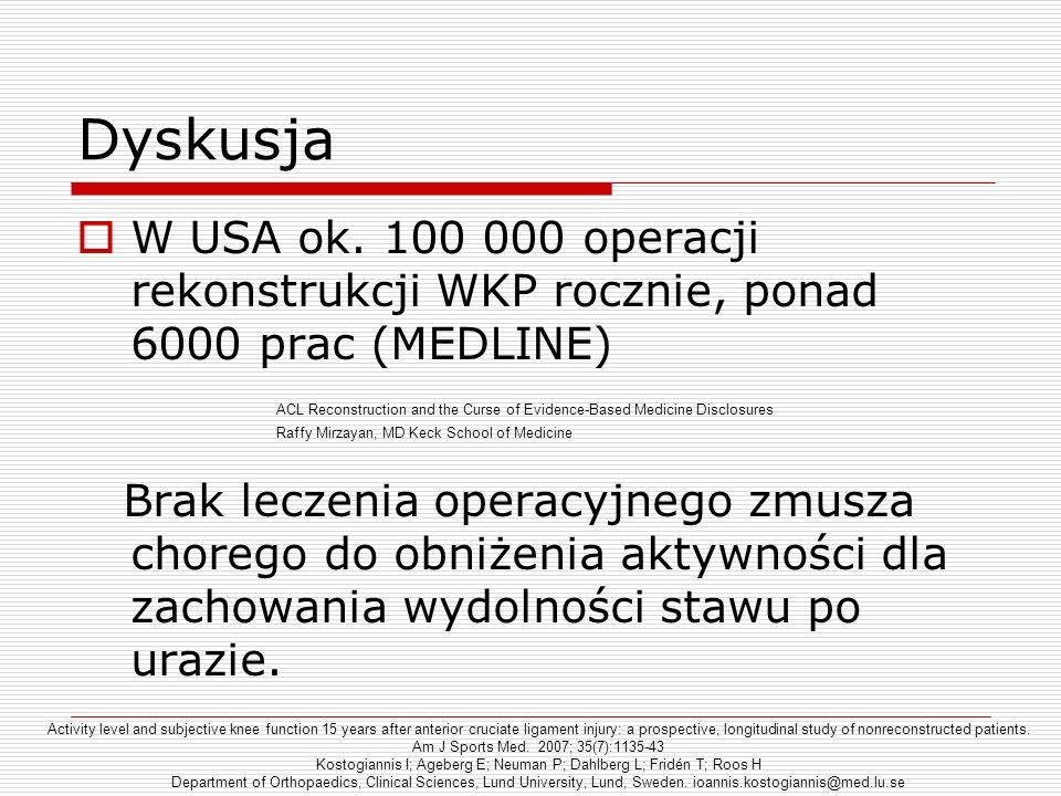 Dyskusja W USA ok. 100 000 operacji rekonstrukcji WKP rocznie, ponad 6000 prac (MEDLINE) Brak leczenia operacyjnego zmusza chorego do obniżenia aktywn