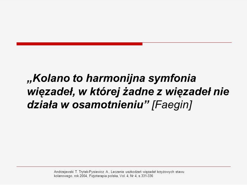 Kolano to harmonijna symfonia więzadeł, w której żadne z więzadeł nie działa w osamotnieniu [Faegin] Andrzejewski T. Trytek-Pysiewicz A., Leczenie usz