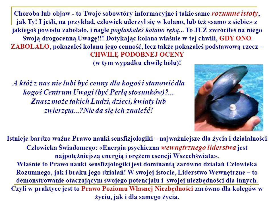 Istnieje bardzo ważne Prawo nauki sensfizjologiki – najważniejsze dla życia i działalności Człowieka Świadomego: «Energia psychiczna wewnętrznego lide