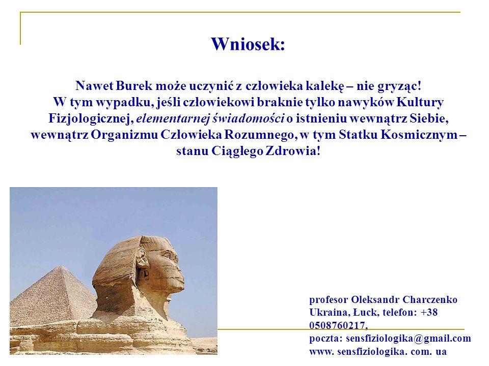 Wniosek: Nawet Burek może uczynić z człowieka kalekę – nie gryząc! W tym wypadku, jeśli człowiekowi braknie tylko nawyków Kultury Fizjologicznej, elem
