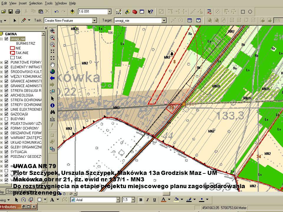 UWAGA NR 79 Piotr Szczypek, Urszula Szczypek, Makówka 13a Grodzisk Maz – UM Makówka obr nr 21, dz. ewid nr 137/1 - MN3 Do rozstrzygnięcia na etapie pr