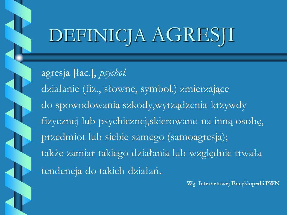 DEFINICJA AGRESJI agresja [łac.], psychol. działanie (fiz., słowne, symbol.) zmierzające do spowodowania szkody,wyrządzenia krzywdy fizycznej lub psyc