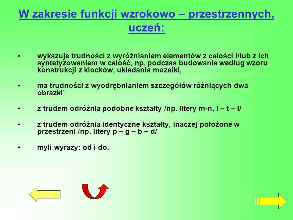 W zakresie funkcji wzrokowo – przestrzennych, uczeń: wykazuje trudności z wyróżnianiem elementów z całości i/lub z ich syntetyzowaniem w całość, np. p